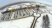 SAMARA, RUSSIA - JAN 05, 2014 : Aerial view to territory of superstore Mega in Samara with large car