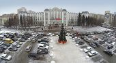 RUSSIA, SAMARA - JAN 4, 2014: Aerial view to Office Kuibyshev Railway with large openair car parking