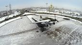 RUSSIA, SAMARA - JAN 8, 2014: Aerial view to monument IL-2 on round square in winter.