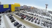 SAMARA, RUSSIA - JAN 05, 2014 : Aerial view to car parking near family store IKEA in Samara with.