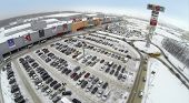SAMARA, RUSSIA - JAN 05, 2014 : Aerial view to territory of store Mega in Samara with car parking.
