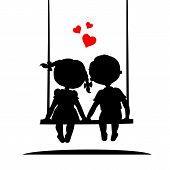 Silhouettes of a boy and girl