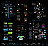 Timeline Infographic design templates Set 2 Black Background.  With paper tags. Idea to display information, ranking and statistics with orginal and modern style.
