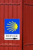 Refuge sign on the camino de Santiago in France