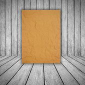 Brown Paper On Wood Background