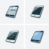 Set Of Four Tablet Icons