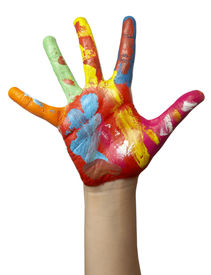 image of hands up  - close up of child hands painted with watercolors on white background with clipping path - JPG