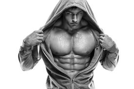 stock photo of packing  - Strong Athletic Man Fitness Model Torso showing six pack abs - JPG