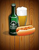 Beer Glass, Bottle And Hot Dog