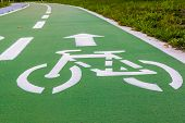 picture of bike path  - urban ciclyng lane bicycle path bike path bike lane - JPG