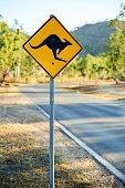Warning road sign shows a kangaroo shape
