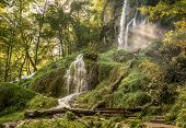 stock photo of swabian  - The Urach waterfall near Bad Urach in the Swabian Alps - JPG
