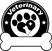 Veterinary Black Circle Label Design With Love Paw Dog, Cross And Bone Under Text