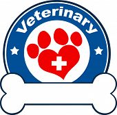 Veterinary Blue Circle Label Design With Love Paw Print,Cross And Bone Under Text