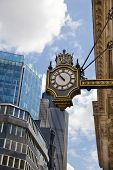 LONDON, UK - 22 AUGUST, 2014: Bank of England. Clock on the Trade building