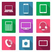 Icons flat design. Electronic devices