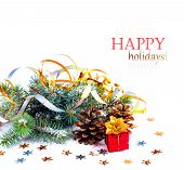 Christmas Tree Branch With Gift In Red Box On White Background Isolated