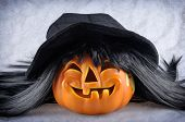 Halloween pumpkin with a black hat and wig