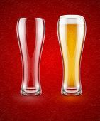 Beer with froth in the glass and empty transparent goblet for drinking. Eps10 vector illustration.