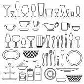 Silhouette of cookware and kitchen accessories