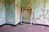Window Frame In Old And Abandoned Room