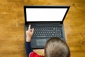 The Boy Pointing To Screen Laptop