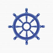 Ship Wheel Banner isolated on white background.