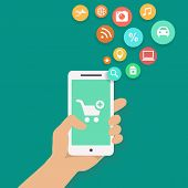 Smartphone apps shopping infographics with  hand holding a phone