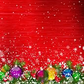 Christmas background with Christmas branches decorated with glass balls