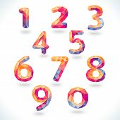 Numbers set in modern polygonal crystal style. Vector illustrati