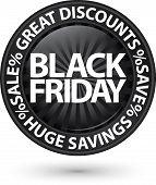 Black Friday Huge Discounts Icon, Vector Illustration