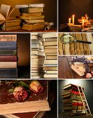 Collage of many old books