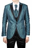 Mens Suit With Floristic Pattern, Wedding Attire, Isolated On White.