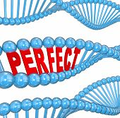Perfect word in 3d letters in a DNA strand to illustrate hereditary good health and wellness running in the family