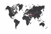 picture of turkmenistan  - A Map of the world with a selected country of Turkmenistan - JPG