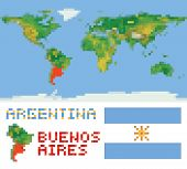 Argentina on physical world map, shape flag and capital buenos aires
