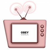 picture of obey  - Pink TV with Obey message on white blank screen - JPG