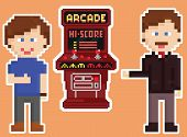 pixel art style red arcade cabinet with two gamers