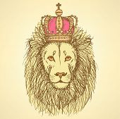 Sketch Cute Lion With Crown In Vintage Style