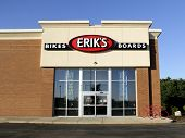 Erik's Bikes And Boards Sign On A Store Front
