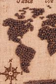 Map made of coffee grains.