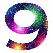 Number of colorful firework, nine