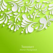 Abstract Summer Green Background with 3d Floral Pattern