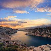 Maslenica Strait And Beautiful Sunset, North Of Zadar, Croatia