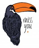 Miss You Design Card With Tropical Bird