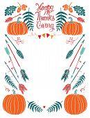 Happy Thanksgiving Design Card For Menu Or Invitation