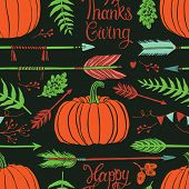 Happy Thanksgiving Background With Pumpkins