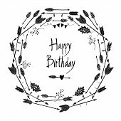 Happy Birthday Round Frame Of Arrows And Leaves