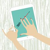 Hands Woman Holding White Tablet With Arrow On Screen
