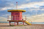 image of coast guard  - Impressionist art of life guard station on South Beach Miami Florida USA - JPG